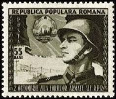 Stamp: Romanian soldier in front of flag with coat of arms (Romania) (People's Army Day) Mi:RO 2307 Romania People, Army Day, Coat Of Arms, Stamps, Flag, History, Events, Home, Seals