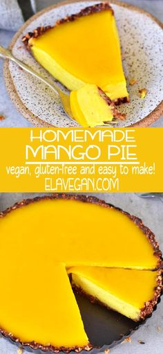 MANGO PIE RECIPE This mango cheesecake pie with a jelly layer is light, creamy, fruity, smooth, and very delicious. It's the perfect dessert which is not too sweet and it contains a delicious granola Mango Tart, Mango Pie, Mango Cheesecake, Baked Cheesecake Recipe, Pie Recipes, Vegan Recipes, Mango Recipes No Bake, Recipes With Mango, Vegan Gluten Free Desserts