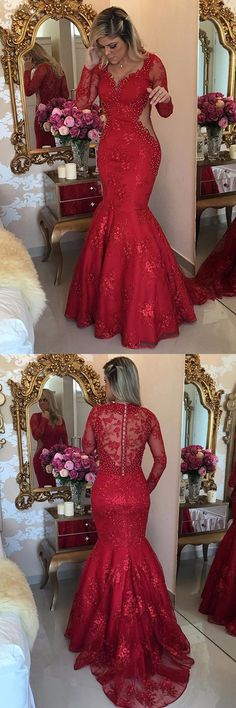 Red Prom Dresses Mermaid, Lace Formal Dresses V-neck, 2018 Party Dresses Long Sleeve, Tulle Evening Gowns Modest