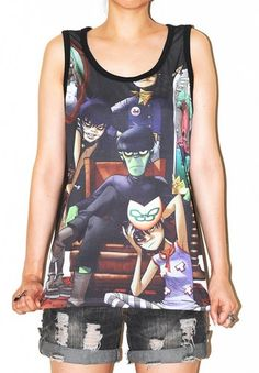 GORILLAZ Singlet Tank Top Sleeveless Indie Alternative Rock Tee Size M