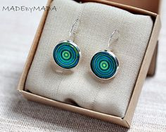Blue and green Leverback earrings Manadalas Spring by MADEbyMADA