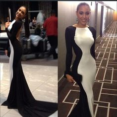 $139--2014 New Arrival Sexy White and Black Long Sleeves Prom Dress FROM 27DRESS.COM