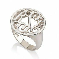 Silver Circle Monogram Ring