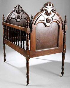 victorian renaissance revival furniture | Furniture: Crib | Victorian Renaissance Revival Walnut Arched