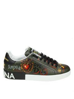 7910657ccc Dolce   Gabbana Portofino Sneakers In Napped Calf Black Military Color