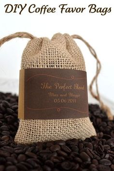 Coffee bags..would be cute to decorate with fabric flower..not just for weddings favors.  free pattens and printable labels.