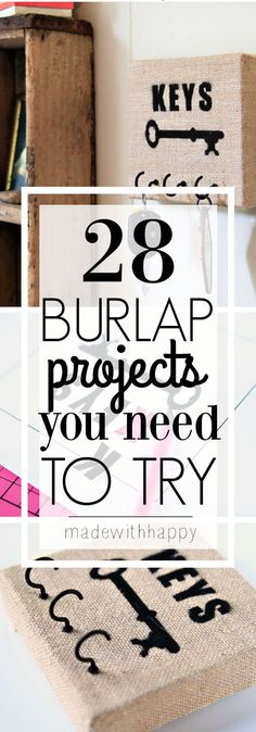28 Burlap DIY Projects to try. Cute home decor and gift ideas.