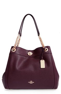 COACH 'Turnlock Edie' Pebbled Leather Shoulder Bag available at #Nordstrom
