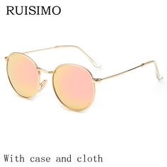 0305433d9e Vintage Round Sunglasses Women men female brand Metal Frames Mirror Lenses Sun  Glasses For women retro Male retro de sol-in Sunglasses from Women s  Clothing ...