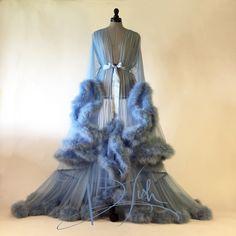 "Image of Sky Blue ""Cassandra"" Sheer Dressing Gown"