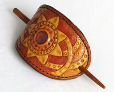 Hand Tooled Leather Hair Barrette,Leather Hair Stick, Leather ponytail holder, leather hair clip, Leather Hair Clips,Barrette out of leather by leathercraftbg on Etsy