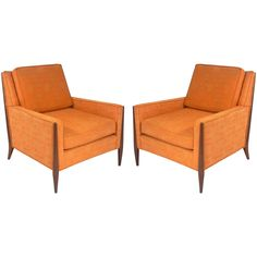 Pair of Clean Lined Midcentury Lounge Chairs | From a unique collection of antique and modern lounge chairs at https://www.1stdibs.com/furniture/seating/lounge-chairs/