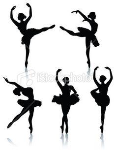 Ballet dancer silhouettes Royalty Free Stock Vector Art