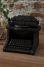 Black Distressed Antique Ornament Typewriter