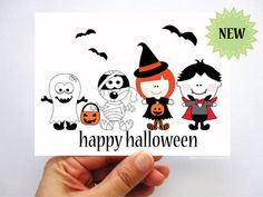 6 Happy Halloween Card Cute Halloween children by Mariapalito