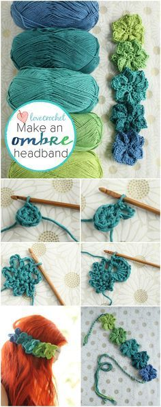 ombre floral #crochet headband free tutorial from LoveCrochet Would make a great bracelet as well.