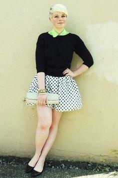 #PolkaDotted Skirt, cardi and a pan collar
