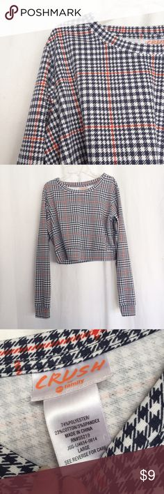 adorable checkered grid crop top worn once in a photo shoot, in perfect condition. part of an abc family collab with wet seal. says size large but fits m-l. very very cute. Wet Seal Tops Crop Tops