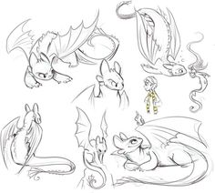 Toothless how to train your dragon - drawings