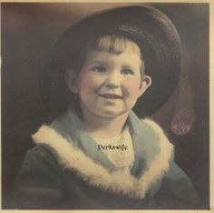 Little Miss Beautiful Hand Tinted Photograph Little Girl in Hat Altered Art