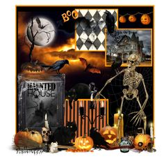 """""""Boo"""" by nancyreo ❤ liked on Polyvore featuring interior, interiors, interior design, home, home decor, interior decorating, Ballard Designs, Halloween and hauntedhouse"""