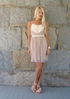 Posey: Nude & Blush Vintage Lace Wedding Bridesmaids Dress with Embellishment. $268.00, via Etsy.