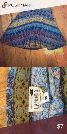Multi-colored skater skirt Pacsun multi colored skater skirt size xs LA Hearts Skirts Circle & Skater