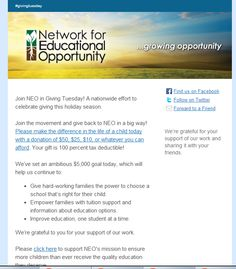 Network for Educational Opportunity #GivingTuesday email