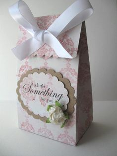 Party Favor Box - Pink Damask