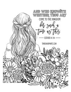 Esther Bible Study - Week 2 - Part 1 - Printable Resources FREE PRINTABLE Christian coloring sheets with Bible verses. A new coloring sheet is posted every Friday. A great stress reliever and they look so pretty framed, from Schacht (). Bible Verse Coloring Page, Coloring Book Pages, Coloring Sheets, Scripture Art, Bible Art, Esther Bible Study, Girls Bible, Free Bible, Journaling