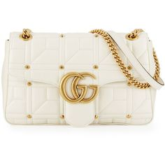 Gucci GG Marmont 2.0 Medium Quilted Shoulder Bag (32.719.760 IDR) ❤ liked on Polyvore featuring bags, handbags, shoulder bags, gucci, white, quilted chain strap shoulder bag, quilted chain shoulder bag, leather purses, white handbags and quilted leather purse