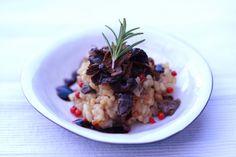 En risotto där parmesanen är utbytt mot västerbottenost och som är smaksatt med trattkantareller och solroskärnor.