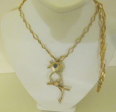 Bird Lovers Goldtone Necklace Diamond Shape by Sisters2Vintage