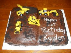 Construction themed birthday cake.  Shanda's Sweet Treats and Crafty Creations...find me on Facebook!