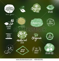 Set of hand drawn style stickers and badges for organic food and drink, natural products, restaurant, healthy food market and production, on the nature background. Vector illustrations.