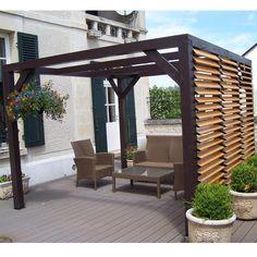 Pergola en bois avec vantelles amovibles pour un mur 348x310x232cm Ombra - Maison Facile : www.maison-facile.com