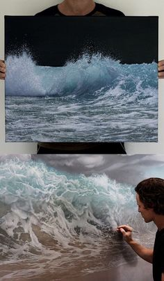 Self-Taught Artist Shares Stunning Process Behind Her Rema Ocean Wave Painting, Ocean Art, Ocean Waves, Landscape Art, Landscape Paintings, Seascape Paintings, Beach Art, Acrylic Art, Painting Techniques