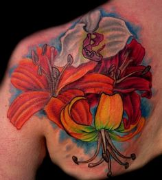 Tattoos - Chloe Vanessa - Three lilies and an orchid bouquet tattoo