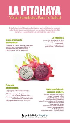 The pitahaya or dragon fruit and its benefits for your health Proper Nutrition, Health And Nutrition, Health Tips, Nutrition Products, Complete Nutrition, Holistic Nutrition, Nutrition Guide, Health Care, Nutrition Articles