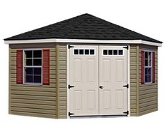14' x 14' Corner Nook Shed with Vinyl Siding