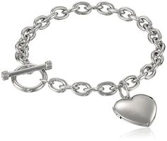 """Sterling Silver Toggle Bracelet with Heart Locket, 8"""" ** You can find more details at http://www.amazon.com/gp/product/B003H9LHB2/?tag=ilikeboutique09-20&op=260716022726"""