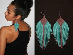 Purple Turquoise Native American Beaded Earrings Large Dangle