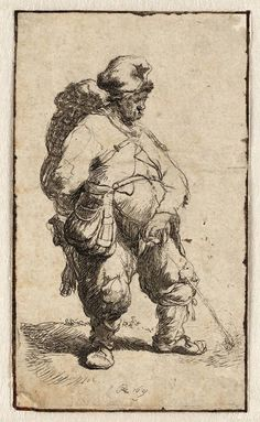 kundst: Rembrandt van Rijn (NL 1606-1669) Peeing man Etching Teylers Museum, Haarlem