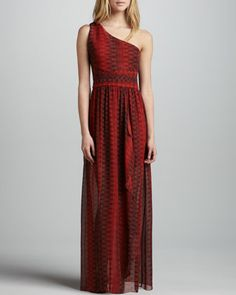 Pamela One-Shoulder Maxi Dress by Alice + Olivia at Neiman Marcus.