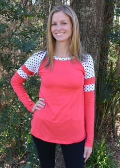 Coral And Black Polka Dot Tee | Jack & Monroe Boutique | Free Shipping | Material: Soft Knit/Rayon Blend Sizing: Fits true to size. S (2-4), M (6-8), L (10-12)