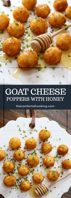 Crispy Goat Cheese Poppers with Honey - Appetizer Snacks Think Food, I Love Food, Good Food, Yummy Food, Yummy Snacks, Yummy Appetizers, Appetizers For Party, Appetizer Recipes, Veggie Appetizers