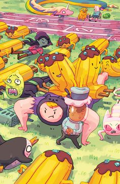 ADVENTURE TIME: BANANA GUARD ACADEMY #4 (of 6) Retail Price:$3.99 Author: Kent Osbourne Artist: Mad Rupert Cover Artists: A. Aimee Fleck  B. Carey Pietsch  C. Christina Chang (INCENTIVE) Looks like these recruits are finally rising to the occasion…but in a big NOT REALLY sort of way. Has the lead Banana finally figured out a way to get these peel-less jokes of Banana Guards out of his life?