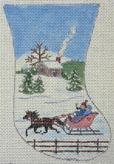 EBS Winter Scene Mini Sock Vintage Handpainted Needlepoint Canvas | eBay  $7
