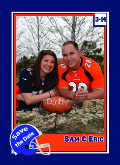 Turn you photos into customized  wedding invitation and save the date trading cards!   http://www.customsportscards.com/select.cfm/Wedding/Wedding-Invitations-4x5.5/