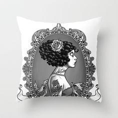 Menina Roza Throw Pillow by Rudy Faber - $20.00